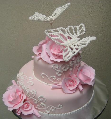 Pink Roses Amp White Butterflies Cake Design By Allan Yap