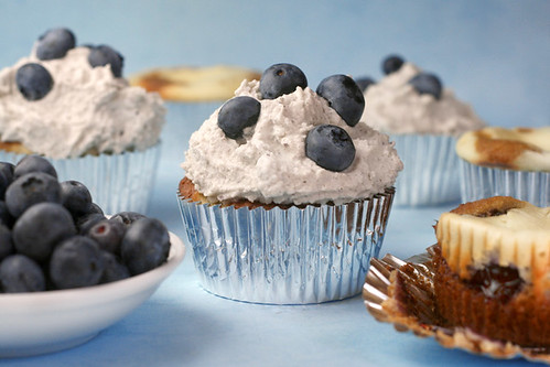 Blueberry Basil Cheesecake Cupcakes | by Bakerella