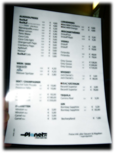 Prices Of Drinks On Brittania