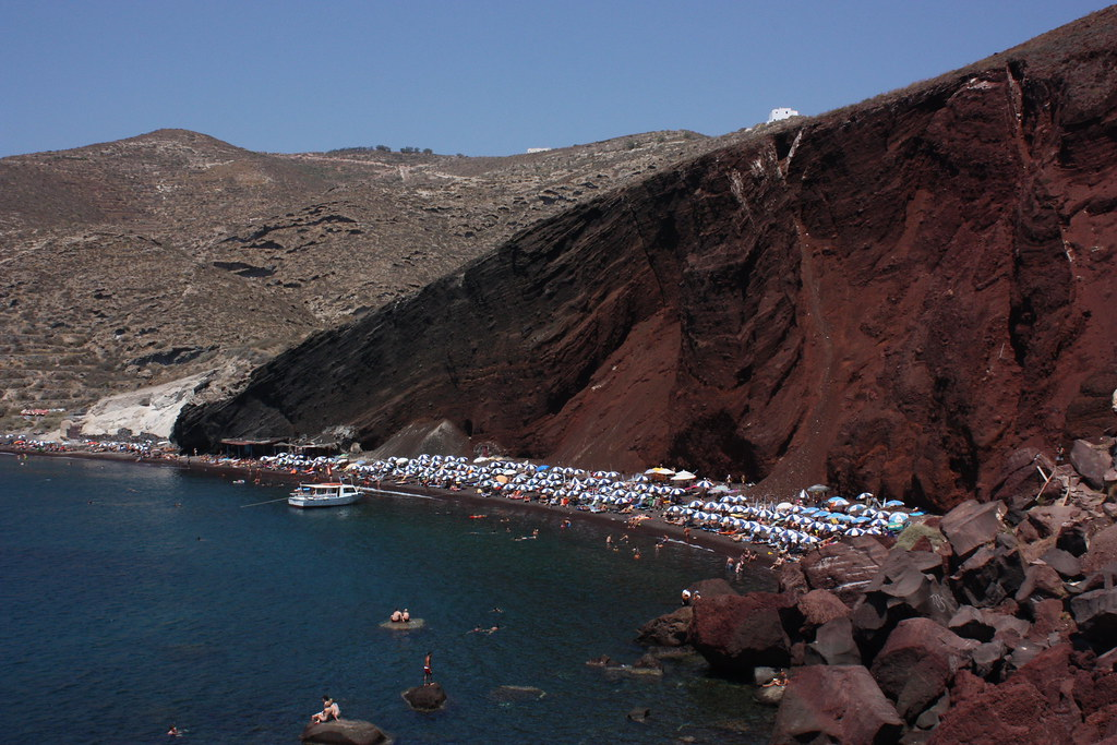 The Red beach in Santorini.