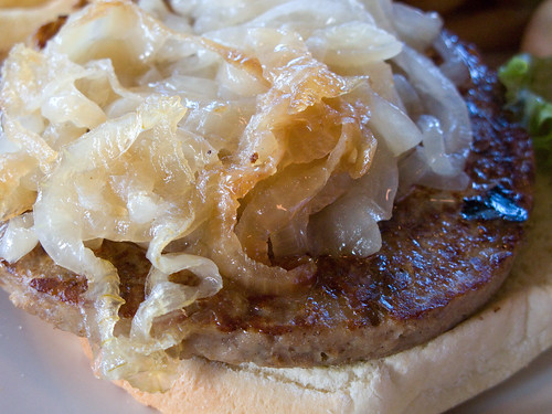 Closeup Of Vegan Burger And Grilled Onions From Saturn