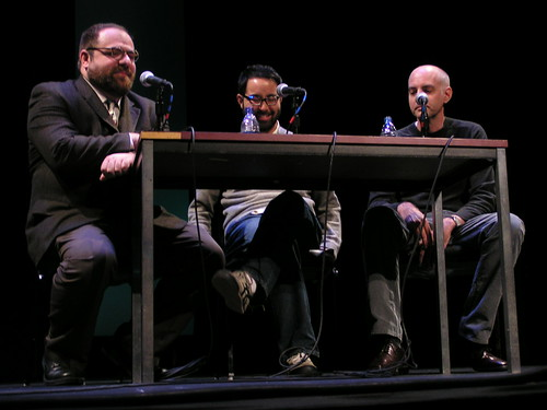 Comix Sub-Heroes panel with Daniel Clowes, Adrian Tomine and Ivan Brunetti at the Bumbershoot festival, Seattle, 9/1/08 | by fantagraphics