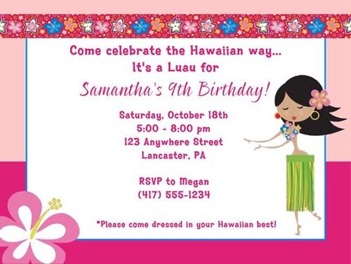 Hula girl invitations hula girl birthday party ideas and s flickr hula girl invitations by kids birthday parties stopboris Images