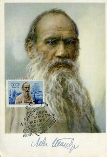 Soviet stamp and postcard  of L.Tolstoy, 1960 | by sludgegulper