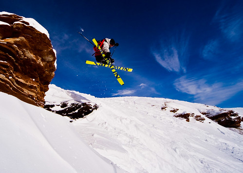Snow ski cliff jump ok first the shot is of me it was for Chair 4 cliffs vail