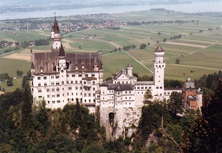Neuschwanstein castle schloss with village in background | by mbell1975