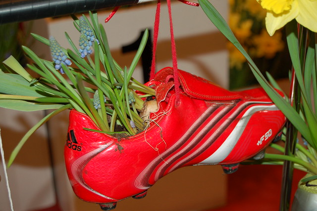 Garden inspiration on how to repurpose old shoes, photo by iHanna