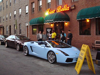 Lamborghini and Maserati in front of Ciao Bella Restaurant in the heart of Little Italy Baltimore. | by Kae Davis