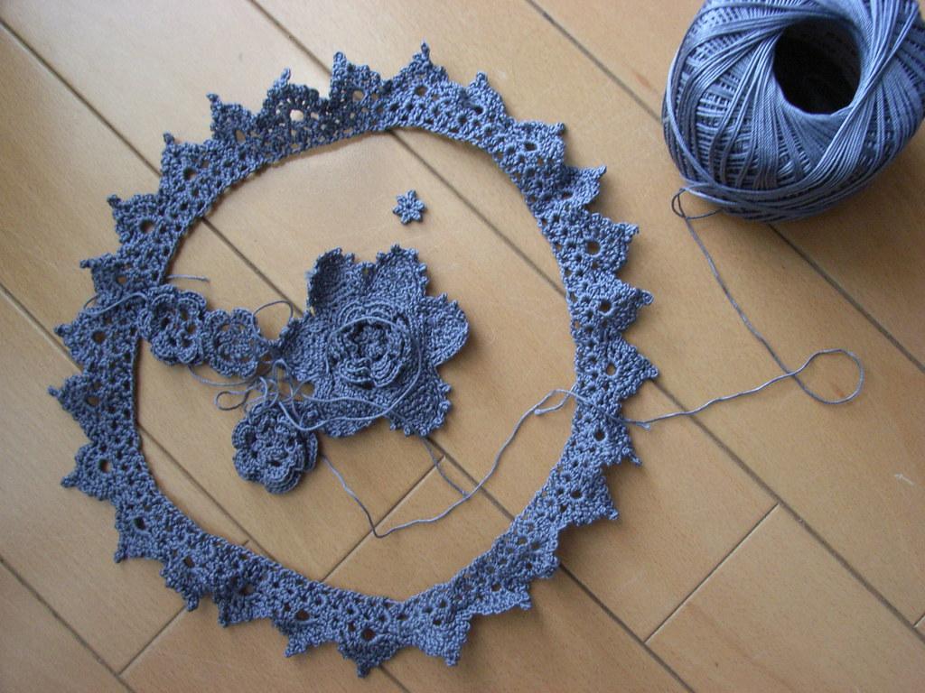 Irish Crochet Lace In Grey Free Pattern Wip Sparklink02 Flickr