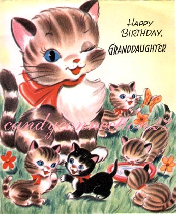 Candyconnection22 Mother Kittens Vintage Birthday Card