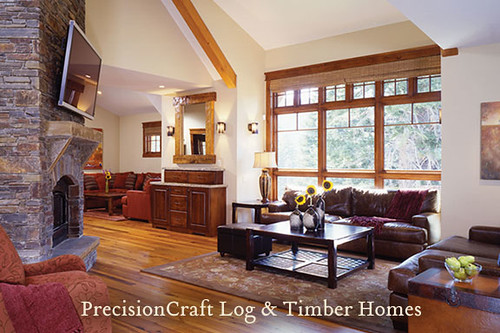 Timber Frame Home Great Room | by PrecisionCraft Timber Frame Homes | by PrecisionCraft Log & Timber Homes