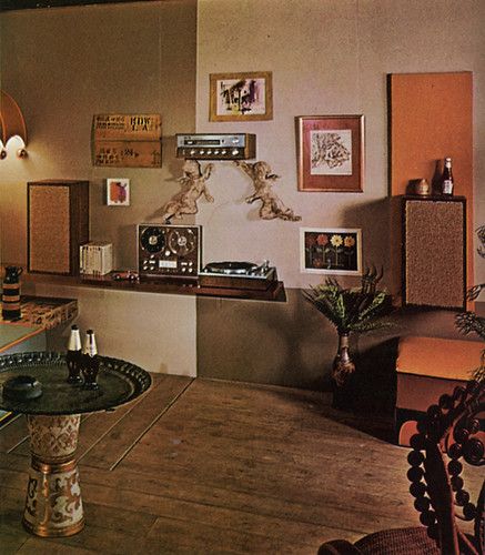 Stereo wall 70s living room what 39 s with the ketchup for Hip living room ideas