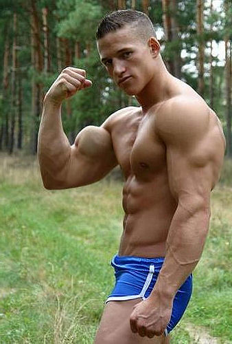huge biceps 3 | yet another muscular young man, in shorts
