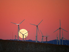 "Moon Rise behind the San Gorgonio Pass Wind Farm | by ""Caveman Chuck"" Coker"