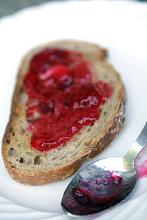 red currant jam on toast | by David Lebovitz