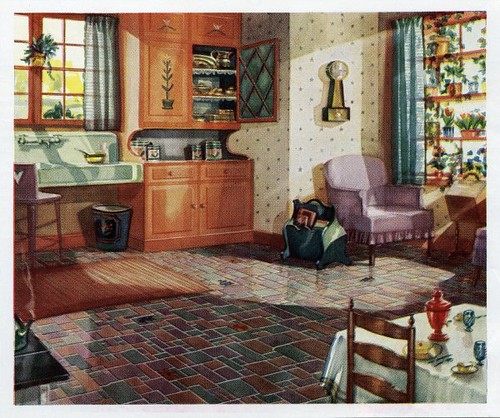 1930 kitchen 1930s kitchen in a linoleum ad daily for A r interior decoration llc