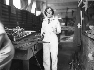 May Bradford welding part of the all Australian monoplane for the England-Australia air race, 1934 / photographed by Sam Hood | by State Library of New South Wales collection