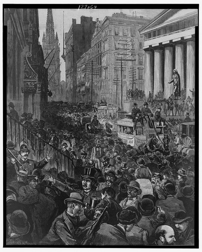 No Known Restrictions: The Panic - Scenes in Wall Street Wednesday Morning, May 14 / drawn by Schell and Hogan, 1884 (LOC) | by pingnews.com