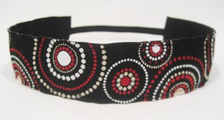 Black, Red, White Circles Ribbon Headband | by PurpleliciousDesigns