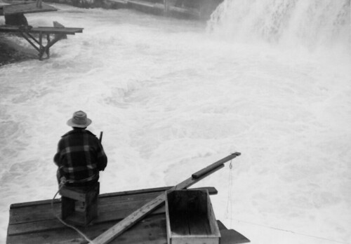 Man fishing at Celilo Falls on the Columbia River | by OSU Special Collections & Archives : Commons