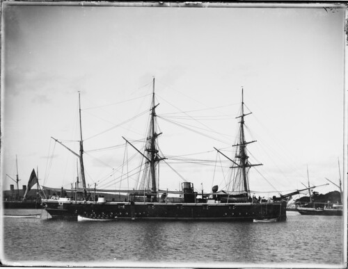 Three masted sailing vessel with steam funnel | by Powerhouse Museum Collection