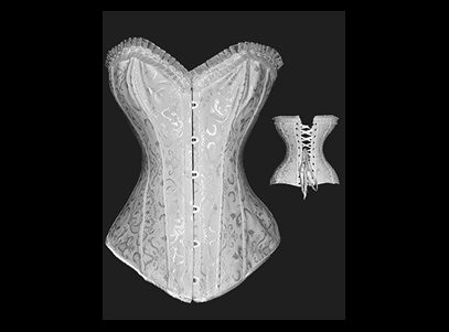 Steel Boned Brocade Bridal Corset White | by EroticCityDrive