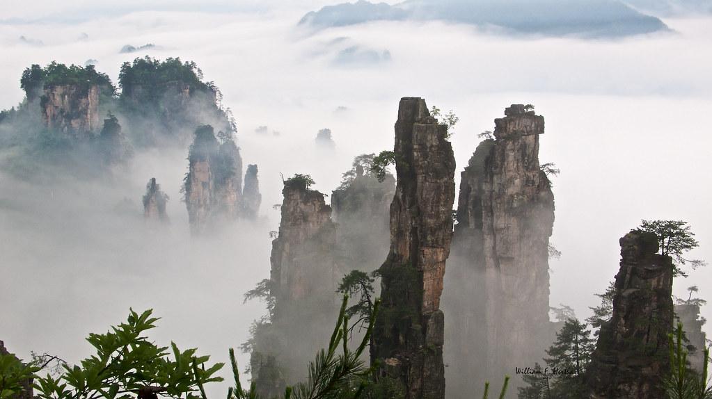 Walking through the Tianzi Mountains