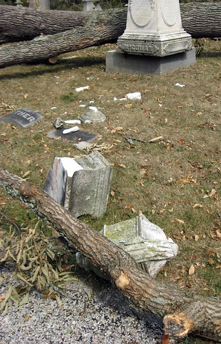 Wind Storm Damage At Spring Grove Cemetery One Week