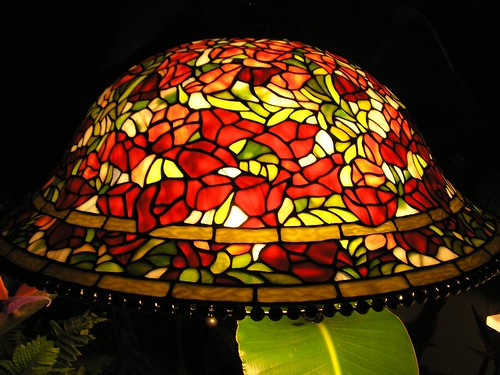 Sold Tiffany Style Red Rose Stained Glass Lamp Price