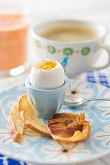 "Soft Boiled Eggs with Toast ""Soldiers"" and Pancetta Chips 1 