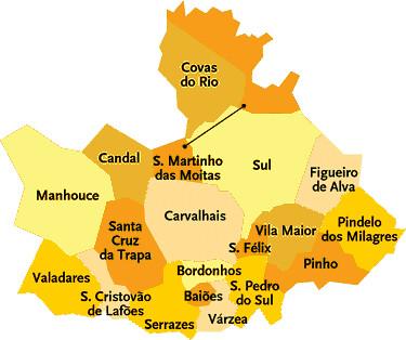 mapa do concelho de s pedro do sul Concelho de S. Pedro do Sul | Mapa das freguesias | Jorge Bastos  mapa do concelho de s pedro do sul