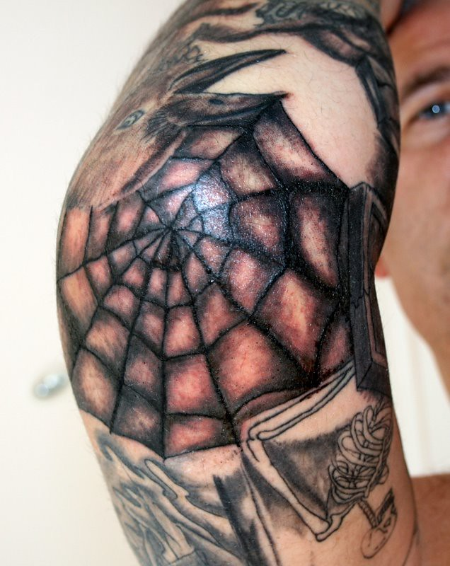 Spider web tattoo on elbow mean