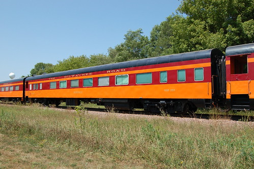 "Central of Georgia Railway No. 542 / 672, NSRX No. 203, (Painted to Chicago, Millwaukee, St. Paul & Pacific Railroad- Milwaukee Road  ""Nokomis""), Private car No. 800898, Minnesota, Cologne (4,202) 