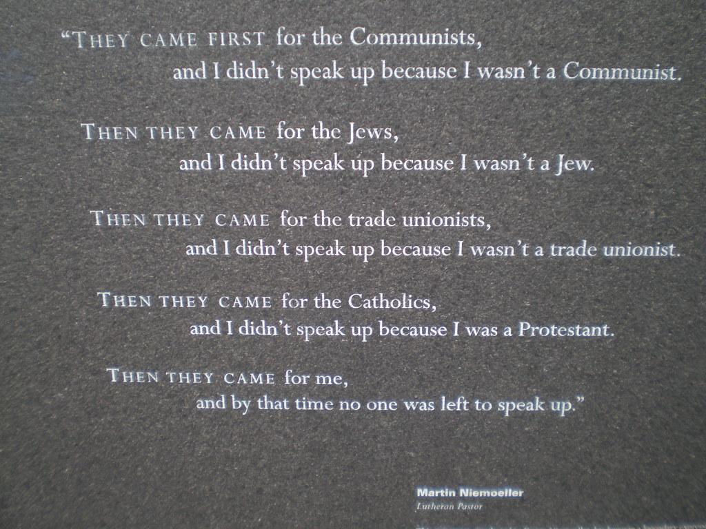 Niemoeller poem at the Holocaust Memorial, Stanley Saitowt… | Flickr