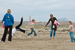 Kids play skiprope on Morro Strand State Beach - Wholesome Family Scene | by mikebaird