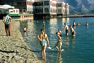 Swimming in the Great Salt Lake at Saltair resort, 1956 | by lreed76