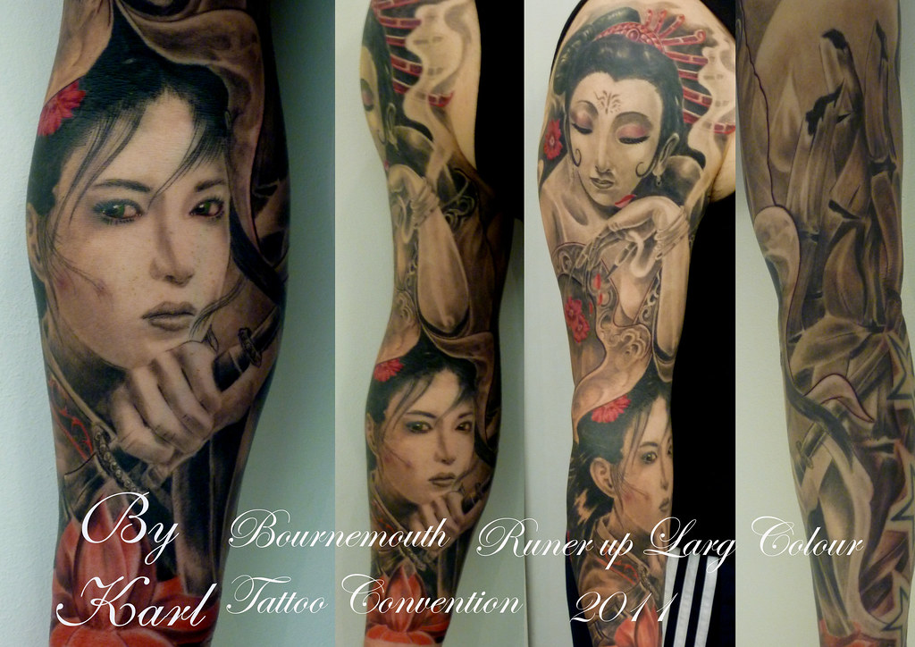 Black and grey colour oriental japanese geisha female samurai portrait