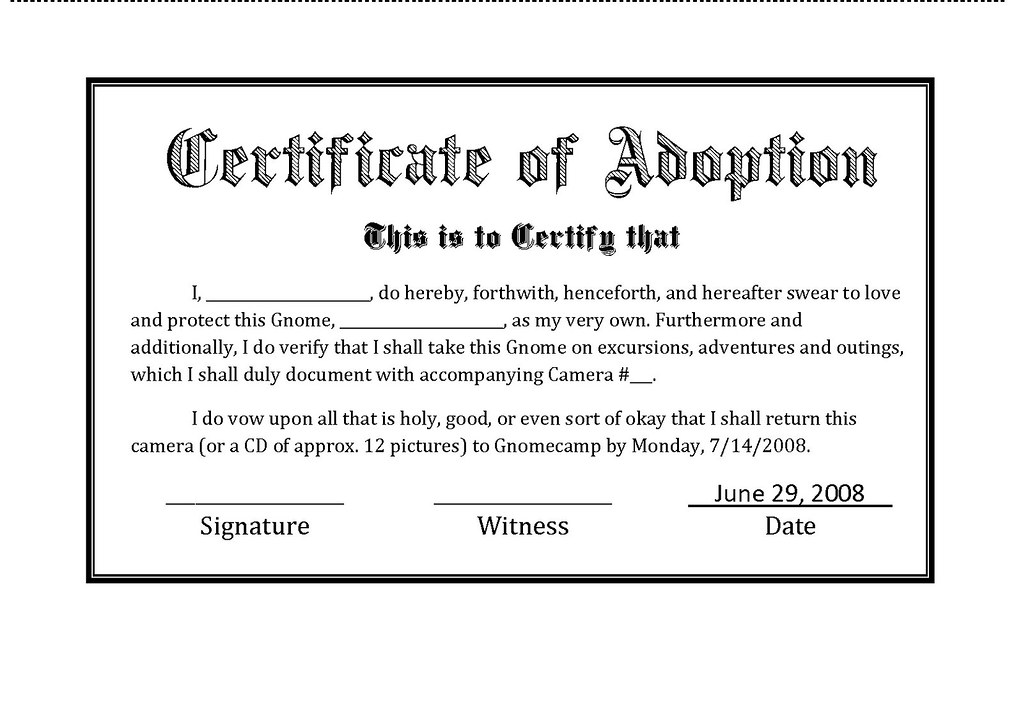 Gnome Adoption Agency Certificate Jonathan Harford Flickr