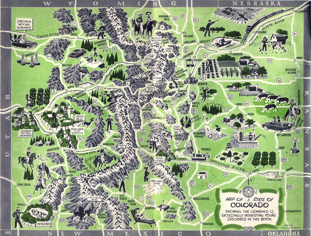 Map, Colorado Tourism Brochure, c. 1956 | Illustrated map of… | Flickr