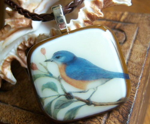 Fused Art Glass Pendant - Bird and Branch | by firechicktick