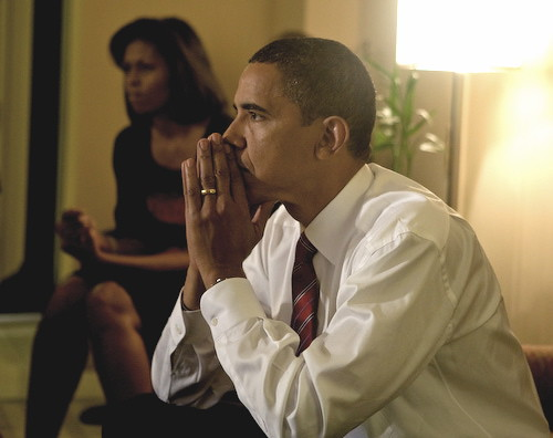 Barack and Michelle Obama on election night