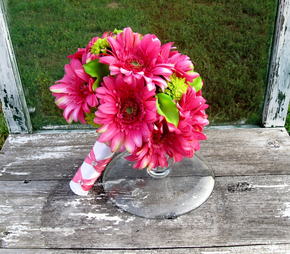 Hot Pink and Lime Green Silk Bridal Bouquet   Hot pink gerbe…   Flickr