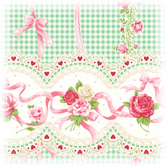 Baby the Stars Shine Bright Gingham Rose Ribbon Print (mint) | by onmyou_dix