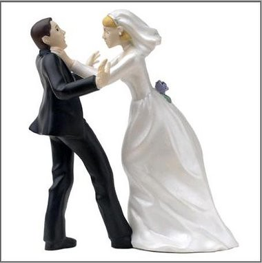 Bride Choking Groom Cake Topper