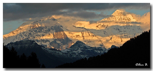 The Eiger and Monch basking in the sun | by Ann Badjura Photography