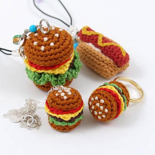 Amigurumi Jewelry Patterns : Crochet Miniature Amigurumi Junk Food Jewelry miniature ...