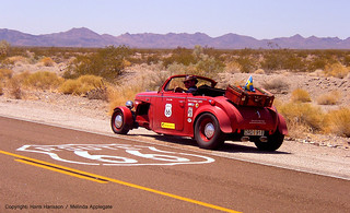 Hans Hansson in his Volvo PV Hot Rod on Route 66 Near Barstow, California | by Scandblue