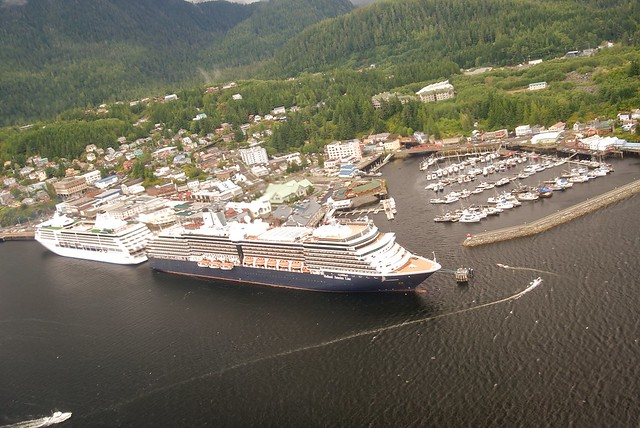 Westerdam Boat from Plane in Ketchikan