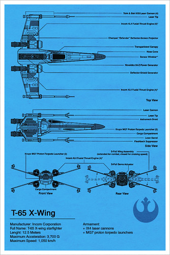 X-Wing Blueprint - Star Wars | by A2K Design