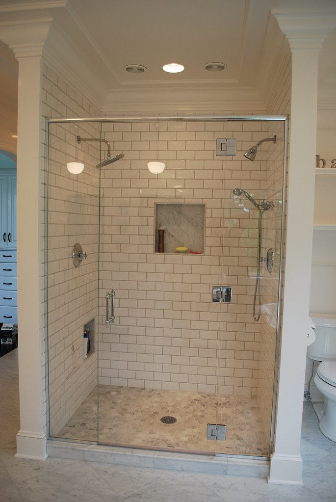 3x6 Subway Tile Shower With Hex Carrera Marble Floor Flickr